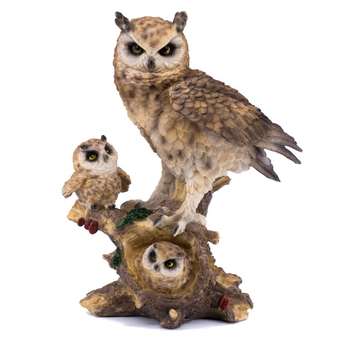 Great Horned Owl With Chicks Owlets Figurine Statue 1