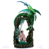 Large Scale Green Dragon On Arch With Fairy Figurine 1
