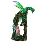 Large Scale Green Dragon On Arch With Fairy Figurine 2