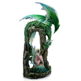Large Scale Green Dragon On Arch With Fairy Figurine 3