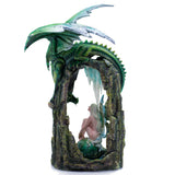 Large Scale Green Dragon On Arch With Fairy Figurine 4