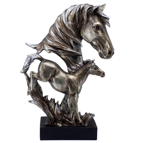Silver/Pewter Tone Horse Head Bust With Foal Figurine Statue 1
