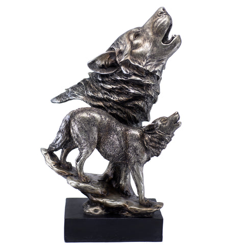 Silver/Pewter Tone Wolf Wolves Howling Figurine Statue 1