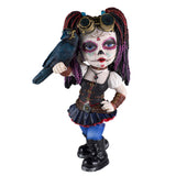 Steampunk Cosplay Kid Day of The Dead Figurine w/Crow Sugar Skull