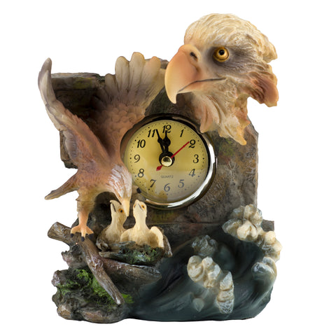 Bald Eagle With Chicks Clock Figurine 1