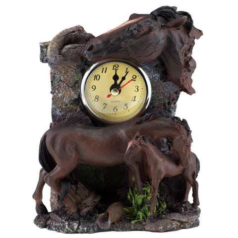 Horse With Foal Clock Figurine 1