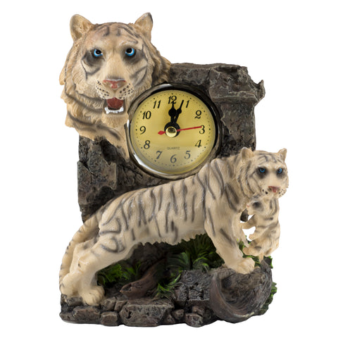 White Tiger With Cub Clock Figurine 1