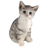 Gray Striped Sitting Tabby Kitten Cat Figurine 2