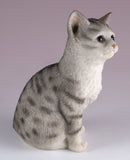 Gray Striped Sitting Kitten Cat Figurine 3