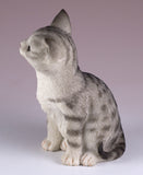 Gray Striped Sitting Kitten Cat Figurine 5