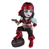 Cosplay Kids Pirate Girl With Wooden Barrel Figurine