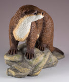 River Otter On Rocks Figurine 3
