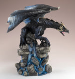 Black Dragon On Rock Waterfall Figurine 3