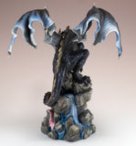 Black Dragon On Rock Waterfall Figurine 4