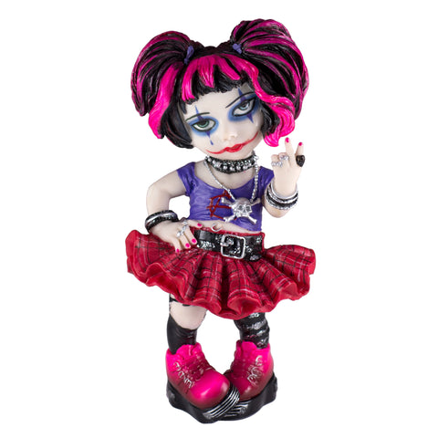 Cosplay Kids Punk Girl Figurine Wearing Skull Necklace