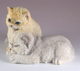 Two Sleepy Furry Kittens Cat Figurine