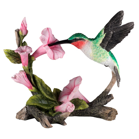Ruby Throated Hummingbird Over Morning Glory Bird Figurine 1