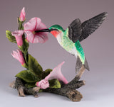 Ruby Throated Hummingbird Over Morning Glory Bird Figurine 2