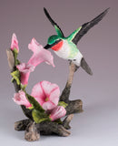 Ruby Throated Hummingbird Over Morning Glory Bird Figurine 3