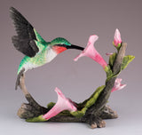 Ruby Throated Hummingbird Over Morning Glory Bird Figurine 4
