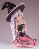 Witch Pink With Black Cat and Broom Figurine 2