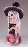 Witch Pink With Black Cat and Broom Figurine 3