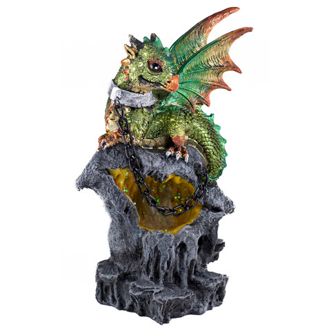 Dragon Figurine Green On Chain With LED Light Up Crystals