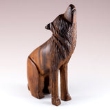 Wolf Sitting Hand Carved Ironwood Wood Figurine 3a
