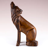 Wolf Sitting Hand Carved Ironwood Wood Figurine 4a