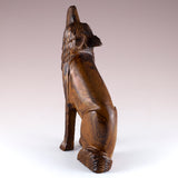 Wolf Sitting Hand Carved Ironwood Wood Figurine 5a