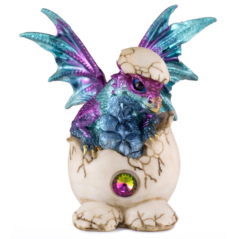 Dragon Figurine Blue and Purple Baby Hatching from Egg