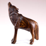 Wolf Standing Hand Carved Ironwood Wood Figurine 3