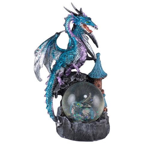 Dragon Figurine Blue and Purple On Castle With Snow Globe