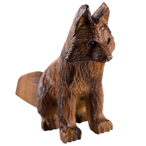 Fox Sitting Hand Carved Ironwood Wood Figurine