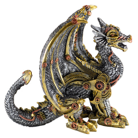 Steampunk Dragon Silver and Gold Colored Figurine Statue