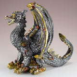 Steampunk Dragon Silver and Gold Colored Figurine Statue 3