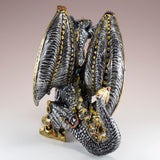 Steampunk Dragon Silver and Gold Colored Figurine Statue 4
