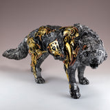 Steampunk Wolf With Gears Figurine Statue 2