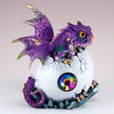 Dragon Figurine Purple Baby Hatching from Egg 2