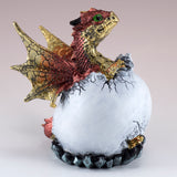 Dragon Figurine Red Baby Hatching from Egg 4