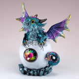 Dragon Figurine Blue Baby Hatching from Egg 2