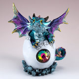 Dragon Figurine Blue Baby Hatching from Egg 3