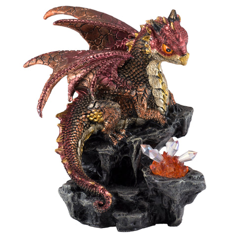 Dragon Figurine Red With LED Crystals