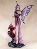 Amethyst Fairy With Crystal Ball Red Dragon Figurine 2