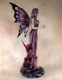 Amethyst Fairy With Crystal Ball Red Dragon Figurine 3