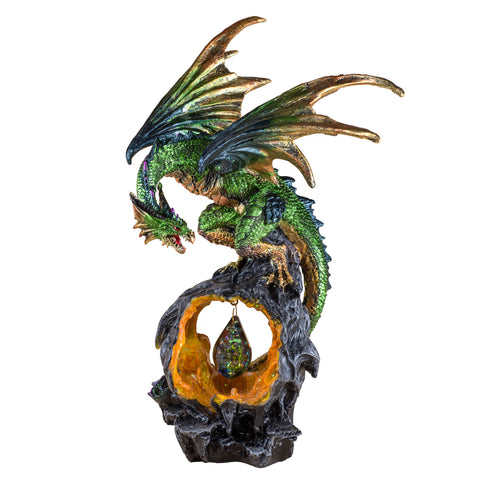 Green Dragon Figurine Statue On LED Rock