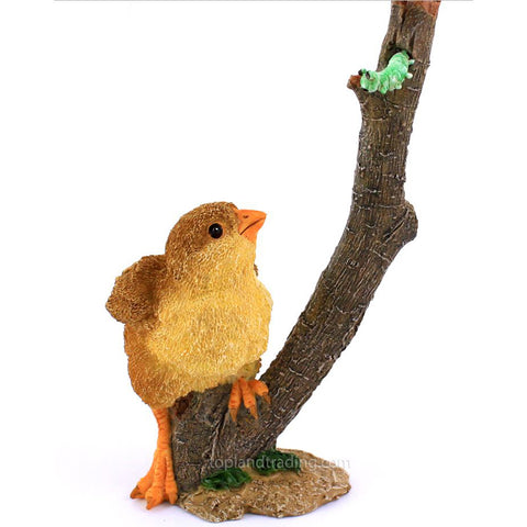 Baby Chick With Caterpillar Worm Chicken Figurine