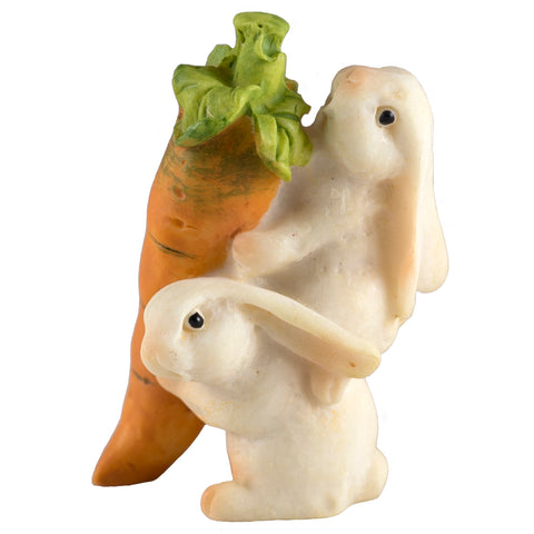 Miniature White Bunny Rabbits Carrying Carrot Figurine