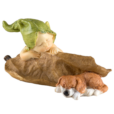 Baby Fairy Sleeping On Leaf With Puppy Figurine 1
