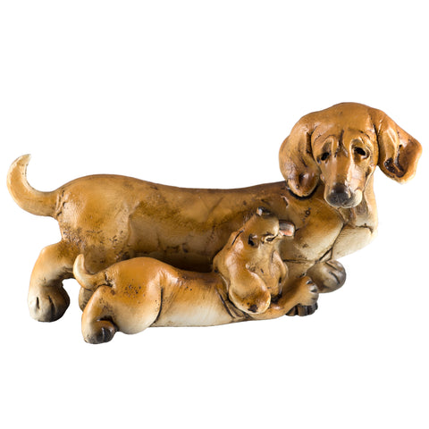 Dachshund With Puppy Dog Figurine